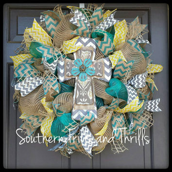 Cross Deco Mesh Wreath, Deco Mesh Wreath, Jute Wreath, Cross Wreath, Door Hanger