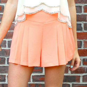Pleated Front Shorts - Coral