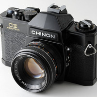 Chinon CE Memotron 35mm Film SLR Camera with Chinon 55mm f1.7 Fast Prime Lens Fully Working