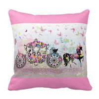 Pink Horse & Buggy Throw Pillows
