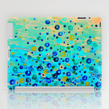 WHAT GOES UP - Cheerful Water Bubbles Aquatic Pattern Cute Turquoise Blue Circles Acrylic Painting  iPad Case by EbiEmporium