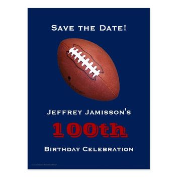 Save the Date 100th Birthday Football Postcard