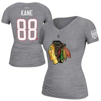 Reebok Patrick Kane Chicago Blackhawks Ladies Stadium Series Name and Number V-Neck Tri-Blend T-Shirt - Ash