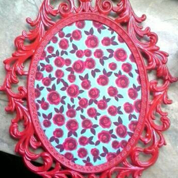 Red and Turquoise Rose Cork Board Upcycled from a Vintage Frame