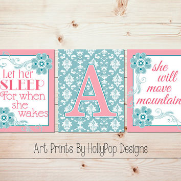 Nursery Decor Pink Teal Baby Girl Nursery Wall Art Let Her Sleep When She Wakes She will Move mountains Damask Art Print Girls Room #0643