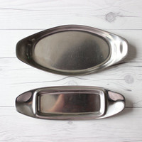 Vintage Set of 2 WMF Cromargan Germany Stainless Steel Butter & Serving Dish Tray