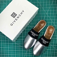 Givenchy Paris Logo Silver Sandals - Best Online Sale