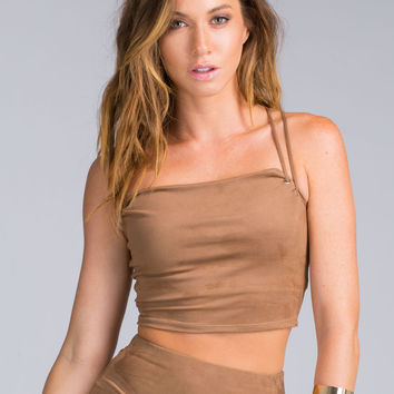 Believe In Boho Faux Suede Crop Top