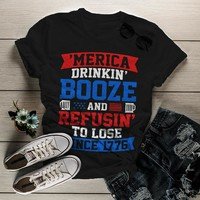 Shirts By Sarah Women's Patriotic Funny 'Merica Drinkin' Booze T-Shirt 4th July