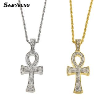 Samyeung Hip Hop Ankh Key Statement Necklaces for Male Hiphop Cross Long Necklace Women Stainless Steel Egyptian Bling Jewelry