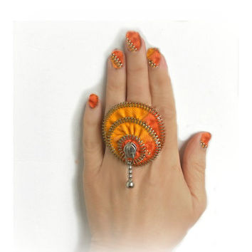 Two-tone zipper ring, hand painted, yellow and orange, rainbow jewelry, ring silver plated- adjustable, eco friendly, recycled jewelry,