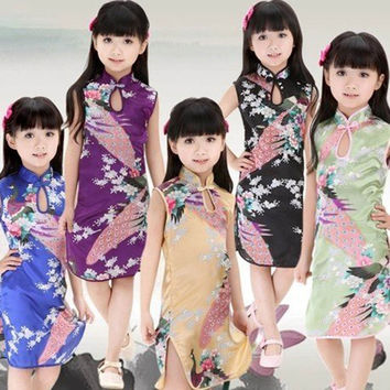 Factory Price Hot Chinese Kid Child Girl Baby Peacock Cheongsam Dress Qipao 2-7 T Clothes