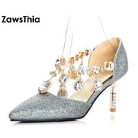 ZawsThia thin high heel crystal women shoes pumps rhinestone silver woman wedding shoes evening party sexy bridal shoes bride