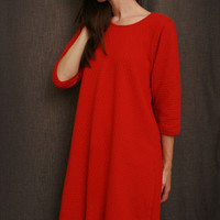 Cherry Red 3/4 Sleeve 3/4 Length Gown Dot | Simple Pleasures, Inc.