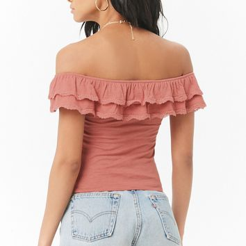 Slub Knit Off-the-Shoulder Flounce Lace-Trim Top