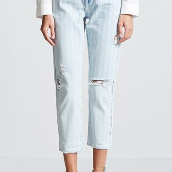 Distressed Stripe Cropped Jeans