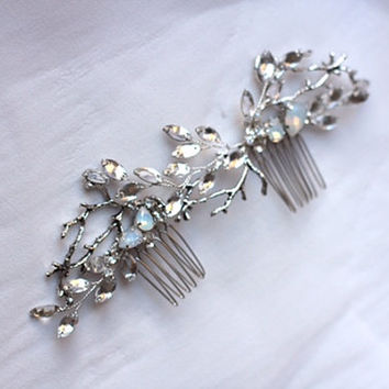 Bridal Headpiece Twig Branch Hair Comb Floral Flower Headpiece Twig Hair Comb Bridal HairComb Twig Hair Comb Hair Clip Rhinestone Clip