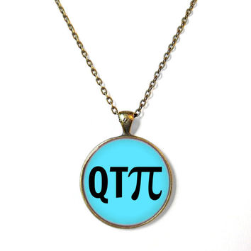 QTPI Teal Bronze Necklace - Geeky Math Nerd Pop Culture Jewelry