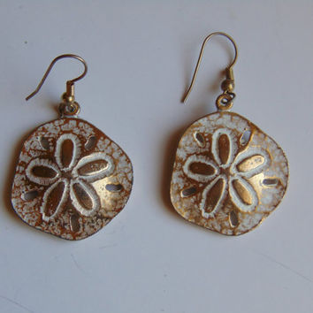 Gold tone and White Sand Dollar Pierced Earrings