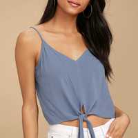 Dear Heart Blue Tie-Front Crop Top