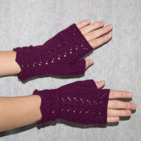 Lace Fingerless Gloves Mittens, Maroon or Wine Color;  Silk, Angora  & Nylon Blend Yarn, Hand Knit in the USA