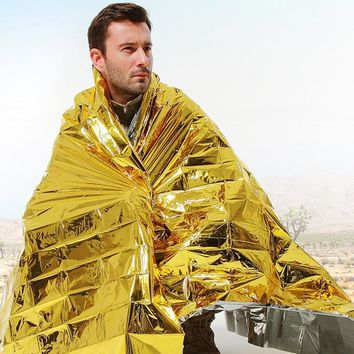 Survival Foil Blanket Camping Hunting Hiking Tourism And Trips Emergency Blankets Survival Kit 210*160cm/Gold 210*130cm/Silver