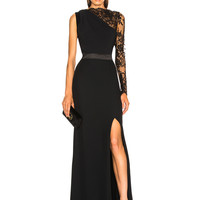 Alexander McQueen Lace One Sleeve Gown in Black | FWRD