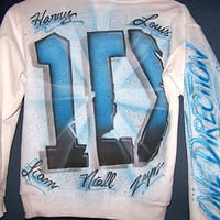 One Direction Airbrushed Hoodie or Crewneck Sweatshirt Airbrush YOUR Name Too!