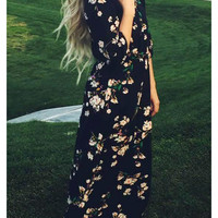 Navy Blue Floral Print Long Sleeve Maxi Dress