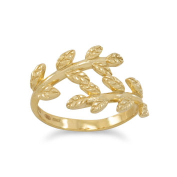 14k Yellow Gold Plated Sterling Silve Vine Leaf Ring