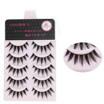 YOKPN Grinding Tip Lengthening Fake Eyelashes Pure Handmade Thick False Lashes 1 Box 5 Pairs Tapered Makeup Eyelashes