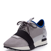 Balenciaga Mixed-Media Leather Sneaker, Gray/Blue