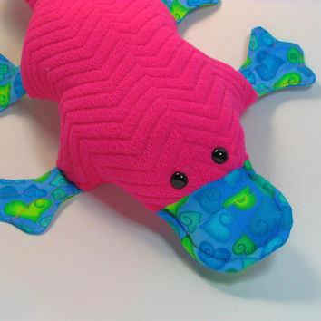 Priscilla Platypus, magenta, turquoise, hearts, textured, reclaimed fabric, quilted, webfoot