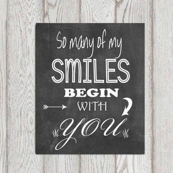 Chalkboard quote Printable Love quote print Romantic quote Home Wall art So many of my smiles begin with you Wedding sign Custom DOWNLOAD