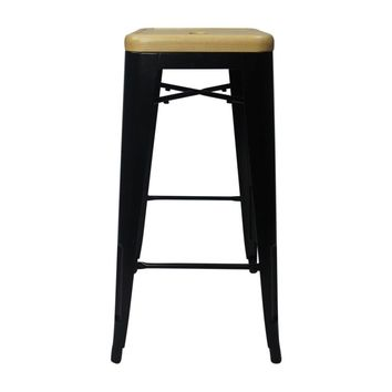 Modern Black with Wooden Seat Reproduction of Xavier Pauchard Tolix Style Bar Stool