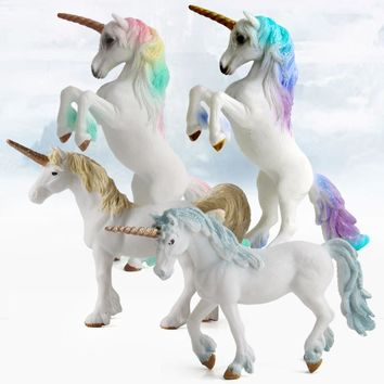 4 Colors Action&Toy Figures Unicorn European Myths And Legends Toys Plastic Doll Animal Collectible Model Furnishing Toy Gift F4
