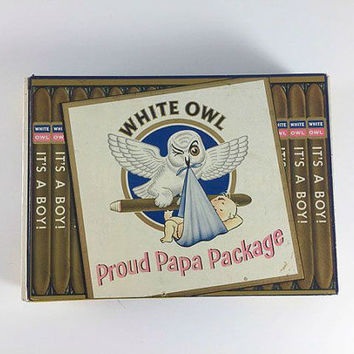 Vintage It's A Boy White Owl Cigar Box Proud Papa Package Baby Shower Gift Tobacciana Retro Graphics Mid Century Nursery Storage Decor
