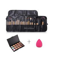 Pro 24 Kabuki Makeup Brushes + 15-Color Concealer Palette + Rose Sponge Puff
