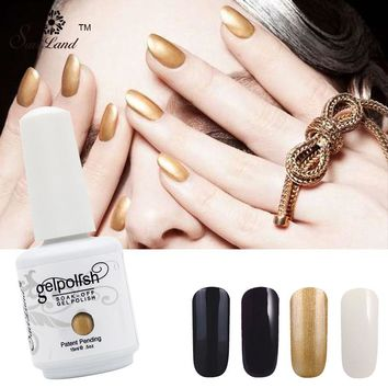 Saviland 1Pcs Pure/Shiny Color 15ml Gelpolish Soak Off LED Gel Varnish Long Lasting Uv Nail Gel Polish Fingernails Art