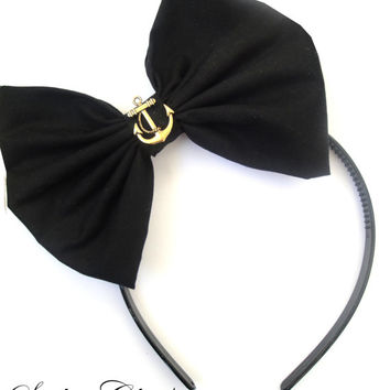 Black with Gold Vintage Anchor BOW headband ROCKABILLY Pin Up girl GaGa