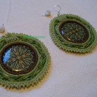 Native American Style Rosette beaded Sweetgrass earrings in Sage and Cinnamon