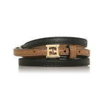 "Fendi ""Crayons"" Leather Bangle Bracelet Black/Brown Leather 8AG354"