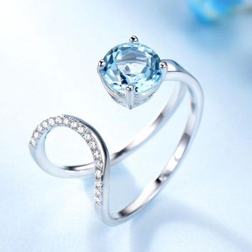 1.65ct Natural Sky Blue Topaz Ring 925 Sterling Silver Rings Adjustable Double Rings For Women Anniversary Vintage Jewelry