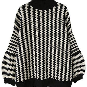 Black High Neck Lantern Sleeve Wave Pattern Sweater