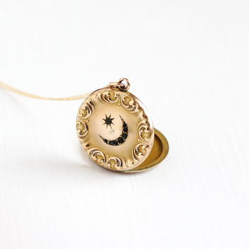 Antique Star & Crescent Moon Rhinestone Locket Necklace - Victorian Edwardian Gold Filled Monogrammed Round Fob Pendant Photographic Jewelry