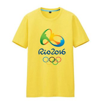 Rio 2016 Olympic Games Round Neck T-Shirt Commemorative Tees-XXL Yellow
