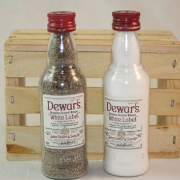 Salt & Pepper Shaker Upcycled from Dewar's White Label Mini Liquor Bottles