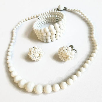 Vintage White Milk Glass Beaded Necklace, Memory Coil Bracelet and Earrings Demi Parure Set