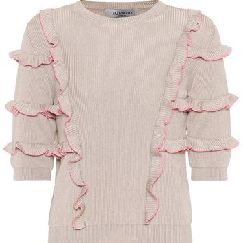 Ruffle-trimmed cotton sweater