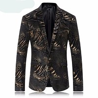 Slim Fit Leopard Print Blazer Jacket